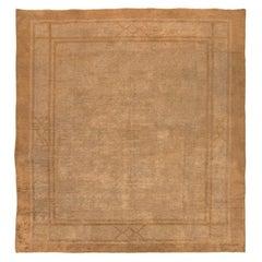 "Beautiful Earth Tone Square Size Antique Mongolian Rug. Size: 10' 6"" x 11' 3"""