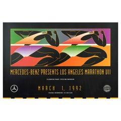 Original Vintage Sport Poster Los Angeles Marathon 1992 Mercedes Benz Race Event
