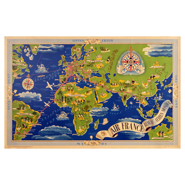 Original Vintage Poster Air France Reseau Aerian Mondial Planisphere World Map