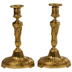 Pair of Louis XVI Style Ormolu Candlesticks
