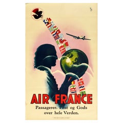 Original Vintage Poster Air France Passengers Mail Freight Worldwide Flags Globe