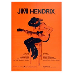 Original Vintage Poster A Film About Jimi Hendrix Guitar Music Festival Concerts