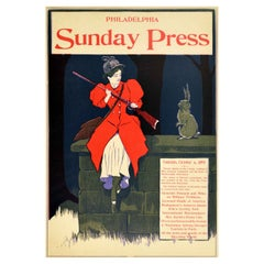Original Antique Poster Philadelphia Sunday Press News Sport Hunter Rabbit Cover