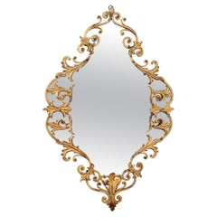 Italian Midcentury Gilt Wall Mirror Hand-Crafted in Baroque Style, Italy, 1950s