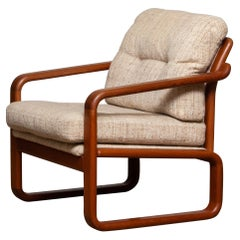 1980's Teak with Wool Cushions Lounge / Easy / Club Chair by Hs Design, Denmark