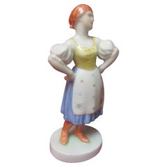 Herend Porcelain Hungarian Vintage Folk Peasant Figurine