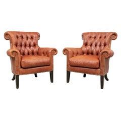 Fine Pair of Ferguson Copeland Leather Club Chairs