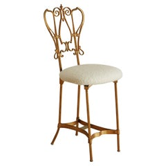Brass Vanity Chair with Ivory Boucle Seat