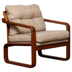 1980's Teak with Wool Cushions Lounge / Easy / Club Chair by HS Design Denmark