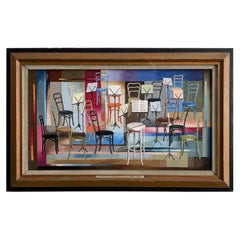 "Original Paul Crosthwaite '1911-1981' Oil on Board Painting ""Musical Chairs"""