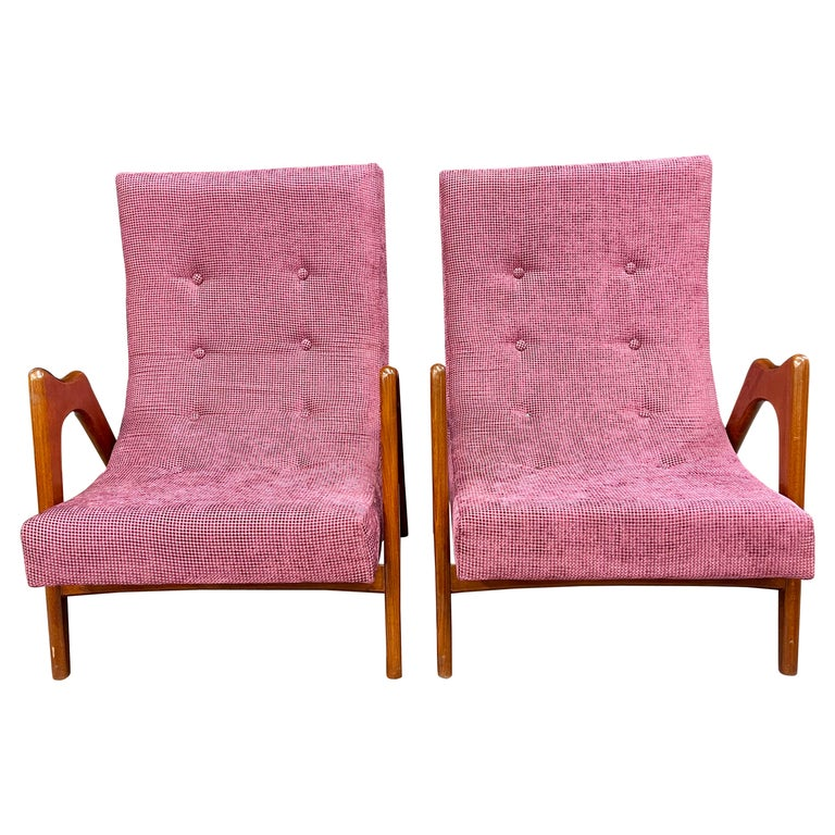 Pair of Newly Upholstered Mid-Century Modern Armchairs For Sale