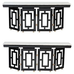 Pair of Mid-Century Modern Ebonized, Marble Top Console Tables, circa 1950