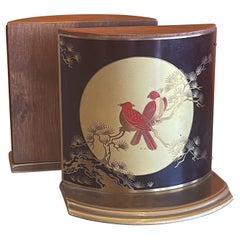 Pair of Brass, Enamel & Wood Asian Style Bird Bookends by Grammes