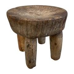 Andrianna Shamaris Antique African Wooden Wabi Sabi Side Table or Stool