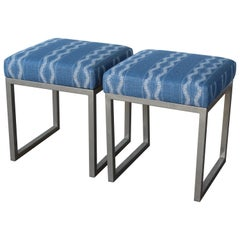 Pair of Vintage 1970s Stools Upholstered in Peter Dunham Textiles