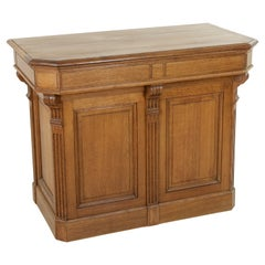 Early 20th Century French Oak Counter, Kitchen Island or Dry Bar, Fluted Columns