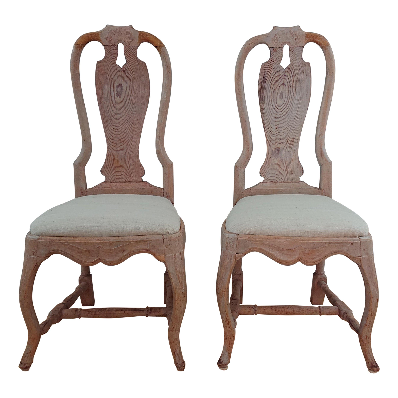 Pair of 18th Century Swedish Rococo Chairs Originalpaint