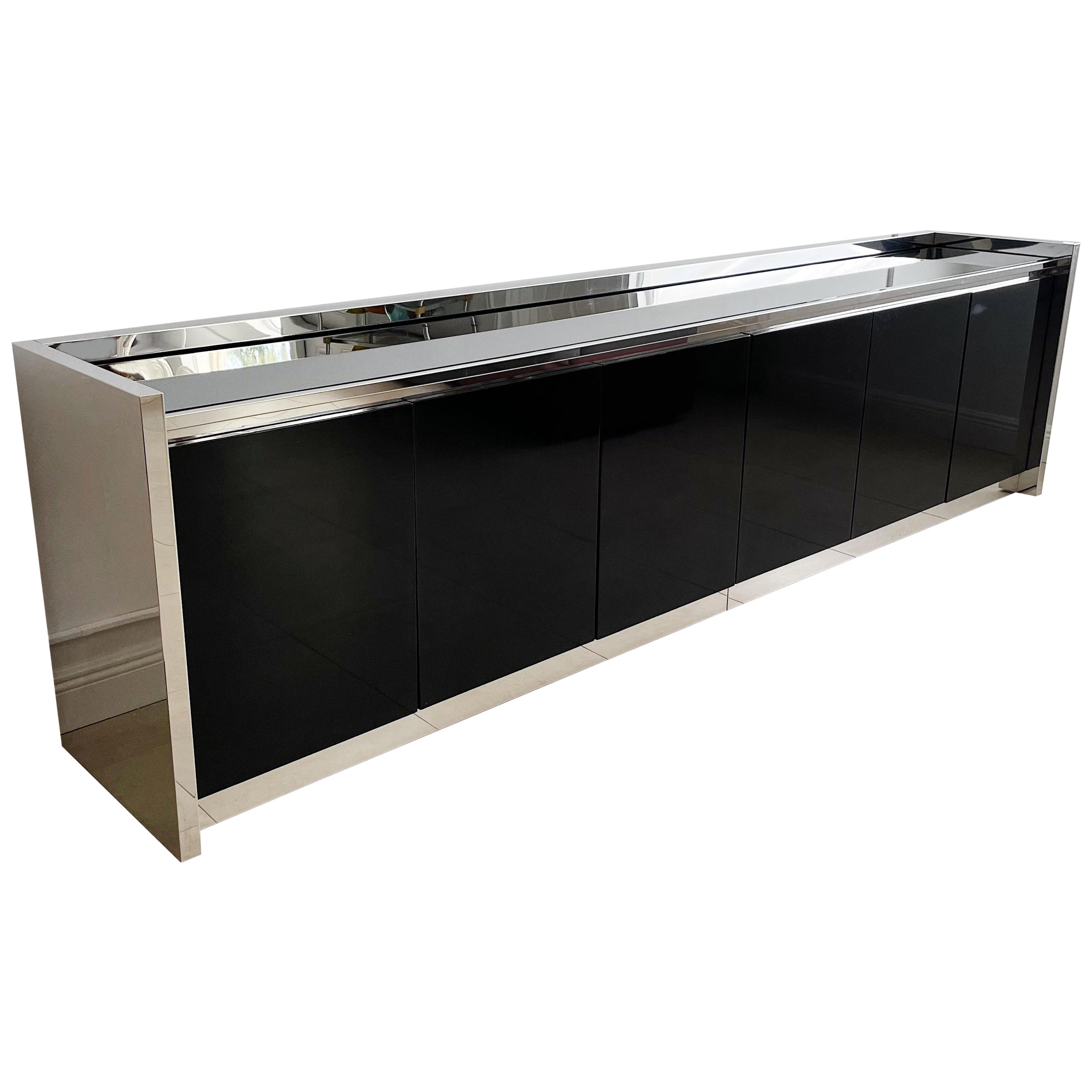 Karl Springer Stainless and Black Lacquer Six Door Credenza