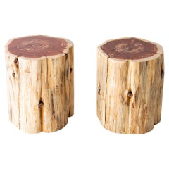 Large Outdoor Tree Stump Tables, Natural