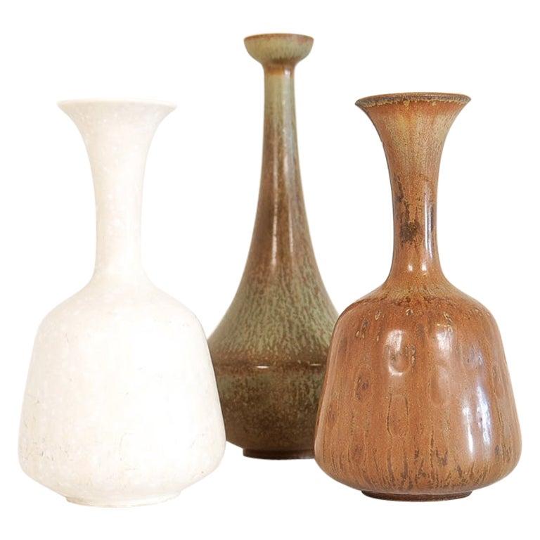 Midcentury Set of 3 Ceramic Vases Rörstrand Gunnar Nylund, Sweden, 1950s