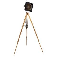 Black Enamel Industrial Spot Light Tripod Floor Lamp, 1970s