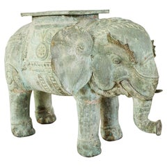 Burmese Patinated Bronze Elephant Garden Stool or Drink Table