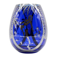 Hermann Michel French Art Deco Glass Vase, 1930