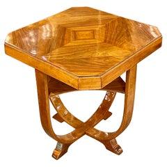 Italian Art Deco Style Walnut Side Table