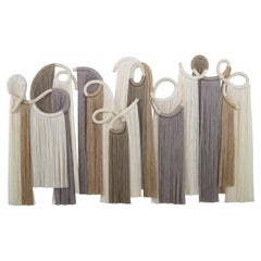 Ceramic and Fiber Wall Sculpture in White and Grey