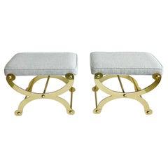 Vintage Pair Polished Brass Curule X-Frame Regency Maison Jansen Stool Benches