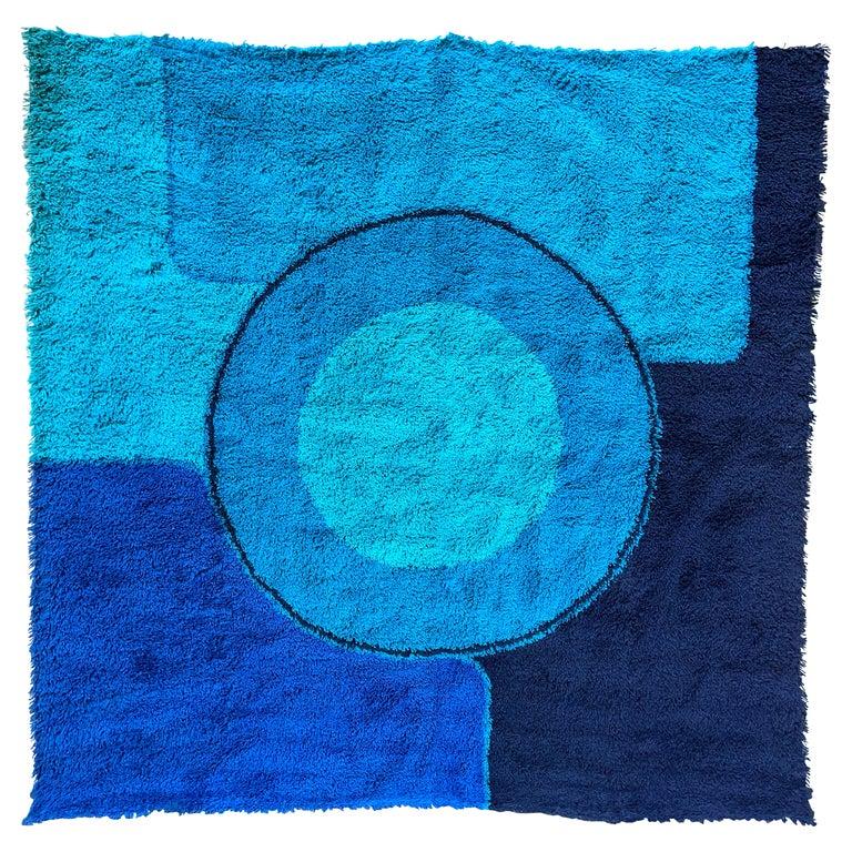 Rya Dania Taepper Abstract Bullseye in Blues Square For Sale