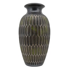 Joseph Mougin Art Deco Vase, Honeycomb, Late 1920s