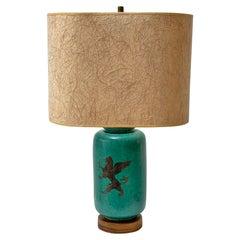 Wilhelm Kåge Gustavsberg Argenta Green Stoneware Lamp