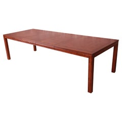 Henredon Mid-Century Modern Burl Wood Parsons Dining Table, Newly Refinished