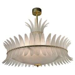 "Modern Murano Glass Art Deco Style ""Plume"" Chandelier"
