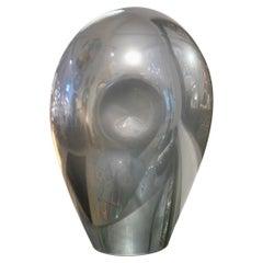 1970s V. Nason Italian Vintage Cast Silver Mirror Glass Abstract Sculpture Lamp