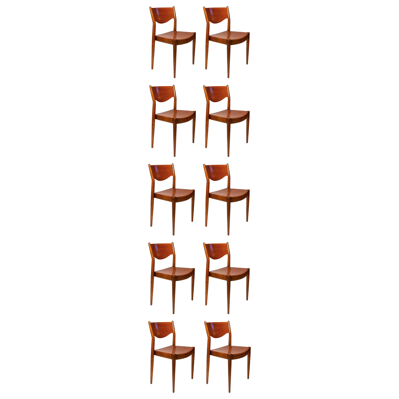 Borge Mogensen Dining Chairs for C.M. Madsens in Teak & Beech Danish Modern- TEN