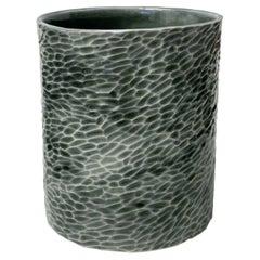 Sage Celadon Carved Porcelain Vase