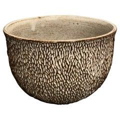 Dark Stoneware Carved Tea Cup