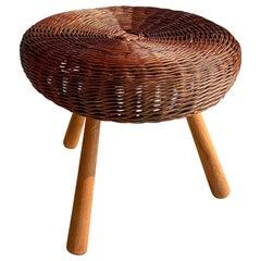 Tony Paul Attributed Rattan and Wood Stool Boho Vintage