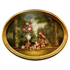 Large Oval Still Life Landscape, Fruits, Flowers & Parrot