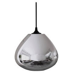 Contemporary Architectural Hand Blown Cool Metallic Silver Pendant Lamp