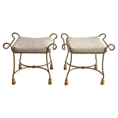 Pair of Italian Mid Century Gilt Meal Rope and Tassel Benches