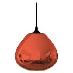 Contemporary Architectural Hand Blown Warm Metallic Copper Pendant Lamp