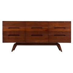Mid-Century Modern Sculpted Walnut 9-Drawer Dresser
