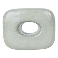 Ceramic Sculpture, Oblong Cube with Oval Opening in Glossy Gray Glaze