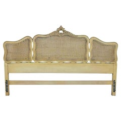 Prince Howard French Provincial Hollywood Regency Ant. White Cane King Headboard