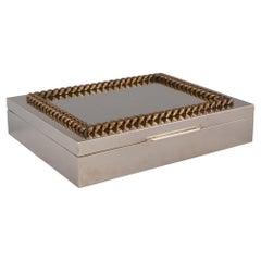 Italian Nickel Plate Cigar Box with Brass Chain Trim