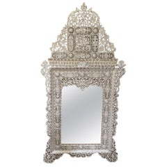 Large Levantine Mother of Pearl Inlaid Mirror, Late 19th/Early 20th Century