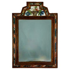 Reverse Painted Marbleized Glass & Wood Floral Basket Crest Courting Mirror
